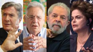 Os ex-presidentes Fernando Collor de Melo, Fernando Henrique Cardoso, Luiz Inácio Lula da Silva e Dilma Rousseff